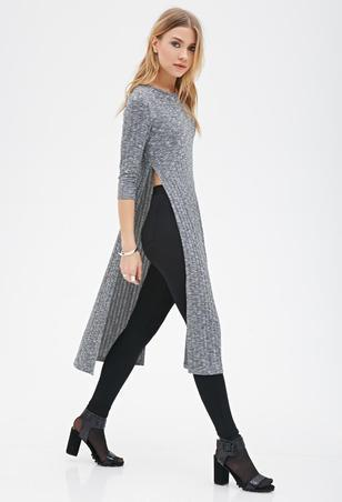 charcoal-slash-grey-forever21-heathered-high-slit-dress