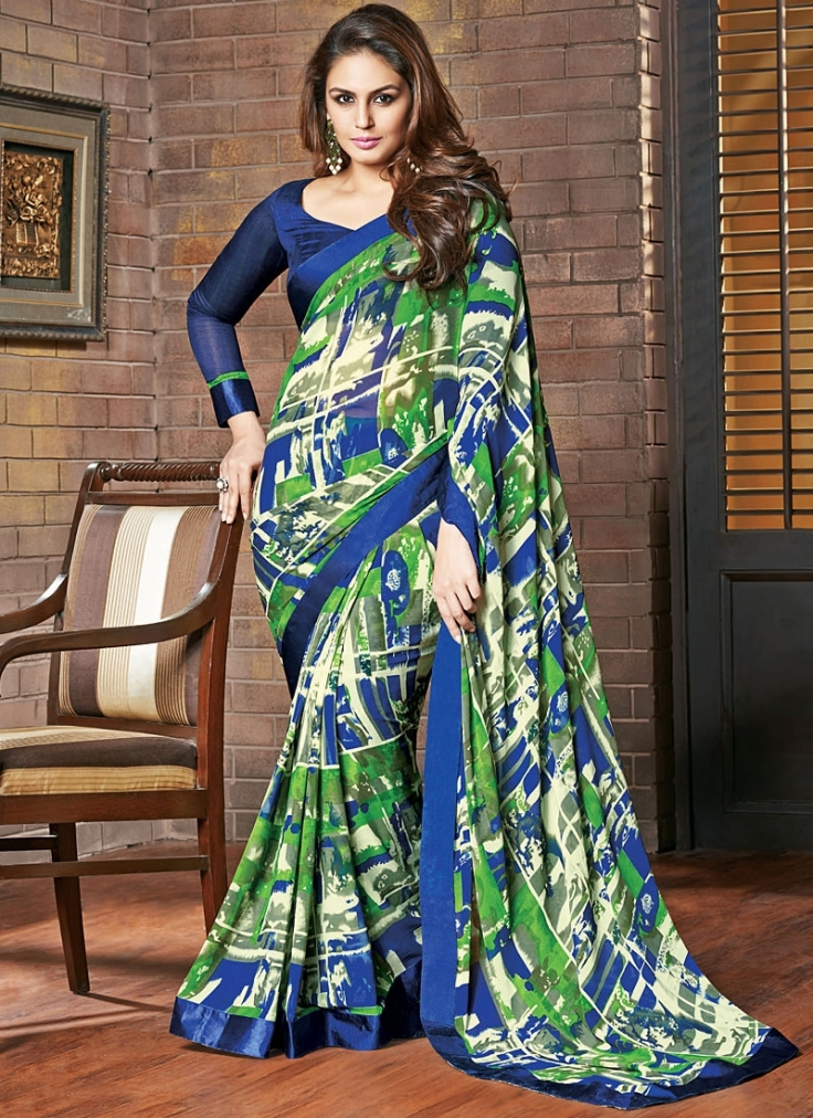 huma-qureshi-multi-colored-georgette-saree