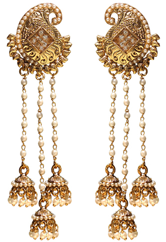 long-mango-designer-earrings-with-3-pearl-tassels-product