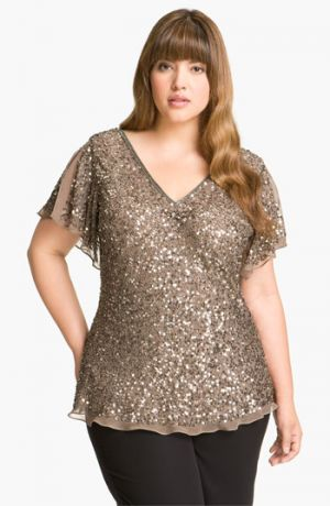 Bling top - Adrianna Papell Sequin Chiffon Top - Plus Size Mink