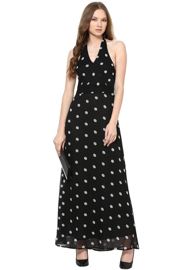 harpa-black-long-length-polka-dot-women-dress-product