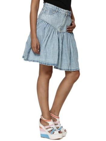 koovs-gathered-detail-denim-mini-skirt-product