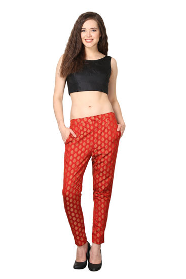 shararat-cotton-red-straight-ankle-trousers-for-tre-product