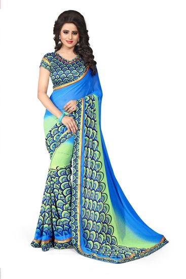 drapme-floral-print-blue-chiffon-saree-with-designe-product