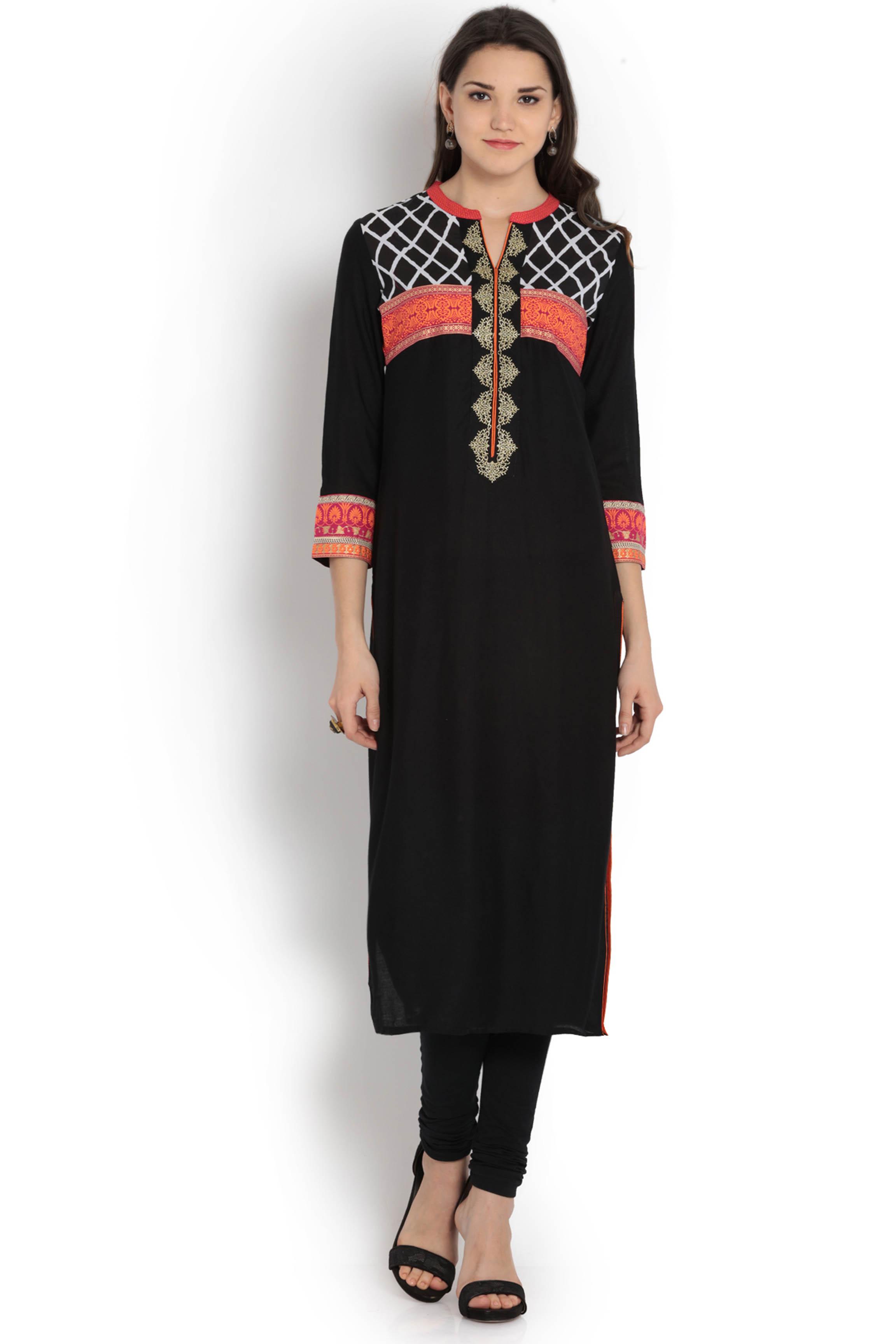 soch-black-and-red-rayon-straight-kurti-original