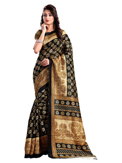 suchi-fashion-black-and-beige-artsilk-printed-saree-product
