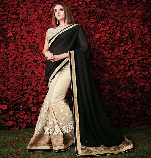 anjali-fashion-black-and-cream-color-georgette-plus-product