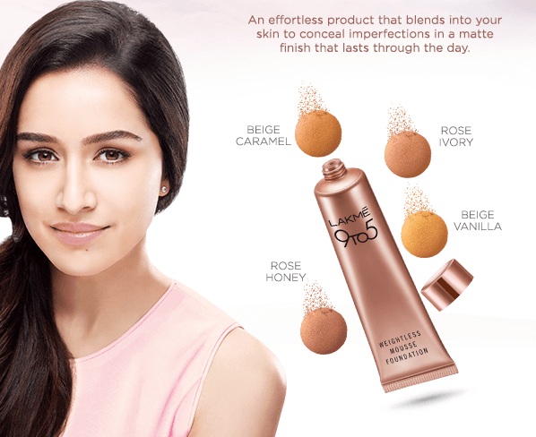 Lakme-9-to-5-Weightless-Mousse-Foundation-shraddha-kapoor